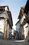 ancient street at candelario village in salamanca spain