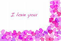 Sentence I love you and hearts drawn on a white background Stock Photo - Royalty-Freenull, Code: 400-05238255