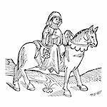 The Prioress from The Canterbury Tales by Geoffrey Chaucer - Woodcut from the Caxton's Edition of 1485 Stock Photo - Royalty-Free, Artist: claudiodivizia                , Code: 400-05239002