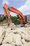 old red excavator construction Stock Photo - Royalty-Free, Artist: lunamarina                    , Code: 400-05240849