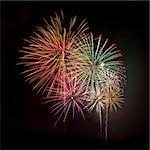 Multicolored fireworks against a black night sky square Stock Photo - Royalty-Free, Artist: sgoodwin4813                  , Code: 400-05241322