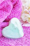 Soap in the form hearts on the towel Stock Photo - Royalty-Free, Artist: Mallivan                      , Code: 400-05241355
