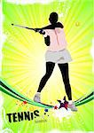 Tennis player poster. Colored Vector illustration for designers