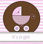 Baby girl arrival card, vector Stock Photo - Royalty-Free, Artist: kidesign                      , Code: 400-05242360