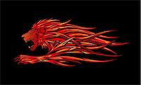 roar lion head picture - A fiery red lion illustration Stock Photo - Royalty-Freenull, Code: 400-05242985