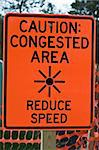 Caution Congested Area sign - slow down! Stock Photo - Royalty-Free, Artist: benkrut                       , Code: 400-05246503