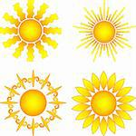 bright symbolic vector sun collection Stock Photo - Royalty-Free, Artist: DLeonis                       , Code: 400-05247269