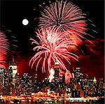 The New York City skyline and holiday fireworks Stock Photo - Royalty-Free, Artist: gary718                       , Code: 400-05247311