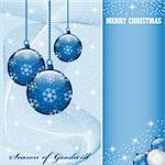 Christmas scene with hanging ornamental blue balls, snowflakes, stars and snow. Copy space for text. Stock Photo - Royalty-Free, Artist: toots77                       , Code: 400-05249446