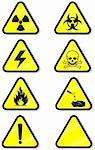 Vector illustration set of different hazmat warning signs. All vector objects and details are isolated and grouped. Colors and transparent background color are easy to adjust. Symbols are replaceable. Stock Photo - Royalty-Free, Artist: bytedust                      , Code: 400-05253175