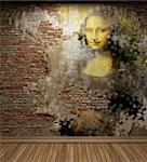antique mona lisa fresco made in 3D Stock Photo - Royalty-Free, Artist: icetray                       , Code: 400-05253452