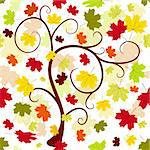 Floral seamless autumn pattern with tree and colorful leaves (vector) Stock Photo - Royalty-Free, Artist: OlgaDrozd                     , Code: 400-05255667