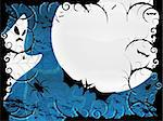 Halloween card or background in blue design