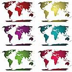 Collection of colored world maps Stock Photo - Royalty-Free, Artist: hibrida13                     , Code: 400-05258371