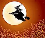 A cartoon witch flying on a broomstick. Vector illustration Stock Photo - Royalty-Free, Artist: emaria                        , Code: 400-05258536