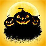 Halloween black ad background with grass and pumpkin Stock Photo - Royalty-Free, Artist: WaD                           , Code: 400-05260127