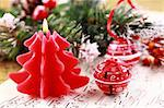 Christmas still life with candles, jingle bells and music notes Stock Photo - Royalty-Free, Artist: Brebca                        , Code: 400-05261269