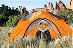 Boy Camping at Colorado Rocky Mountains Stock Photo - Royalty-Free, Artist: Studio1One                    , Code: 400-05262861