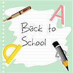 illustration of school stationery on paper with back to school text