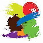 colored brush strokes vector illustration