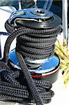 Winch on sailing boat with black cord Stock Photo - Royalty-Free, Artist: Kartouchken                   , Code: 400-05272526