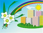 The sun and a rainbow over the city. Vector illustration. Vector art in Adobe illustrator EPS format, compressed in a zip file. The different graphics are all on separate layers so they can easily be moved or edited individually. The document can be scaled to any size without loss of quality. Stock Photo - Royalty-Free, Artist: firedark                      , Code: 400-05272929