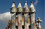 Artistic dragon shaped roof of Casa Batlo