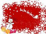 vector eps10 illustration of a snowman on a colorful christmas card Stock Photo - Royalty-Free, Artist: andreakaulitzki               , Code: 400-05275478