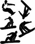 collection of snowboard silhouettes - vector Stock Photo - Royalty-Free, Artist: paunovic                      , Code: 400-05276625