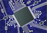 Vector illustration of a blue fictive printed board circuit Stock Photo - Royalty-Free, Artist: Stiven                        , Code: 400-05277521