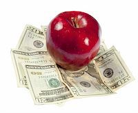 education loan - A red apple sits on top of a pile of $20 bills to illustrate the cost of education, food, or health care.  Studio shot on a white background. Stock Photo - Royalty-Freenull, Code: 400-05280570