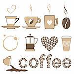 Icons set coffee and crockery for coffee Stock Photo - Royalty-Free, Artist: serazetdinov                  , Code: 400-05281779
