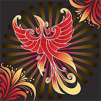 frbird - Firebird, mythical creature from Russian tales, vector illustration Stock Photo - Royalty-Freenull, Code: 400-05285757