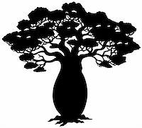 African tree silhouette - vector illustration. Stock Photo - Royalty-Freenull, Code: 400-05286191