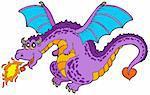 Huge flying dragon - vector illustration.