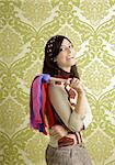 retro housewife woman duster cleaning sixties wallpaper Stock Photo - Royalty-Free, Artist: lunamarina                    , Code: 400-05286582