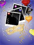 vector eps 10 illustration of a mask, photos, balloons and ribbons on an abstract background