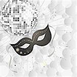 illustration of a venetian mask and a silver mirror ball on transperency dots