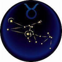 Taurus  constellation plus the Taurus  astrological sign Stock Photo - Royalty-Freenull, Code: 400-05292800