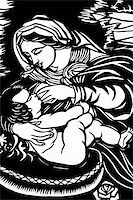 Paper-cutting of Maria feeding an infant in black-and-white Stock Photo - Royalty-Freenull, Code: 400-05292801