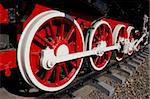 Wheels of vintage locomotive