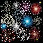 vector illustration of  fireworks on black background