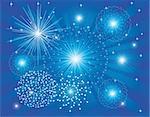 vector illustration of blue fireworks on light burst background