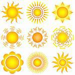 bright symbolic vector sun collection Stock Photo - Royalty-Free, Artist: DLeonis                       , Code: 400-05296738