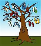 An image of a tree with many shoes hanging from the limbs. Stock Photo - Royalty-Free, Artist: cteconsulting                 , Code: 400-05297243