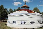 Scenery of a typical Mongolian ger on the grasslands Stock Photo - Royalty-Free, Artist: bbbar                         , Code: 400-05297631