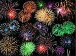 Collage of Multicolored Fireworks Against a Black Sky