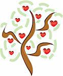 Vector apple tree with red fruits in the form of heart illustration Valentines Stock Photo - Royalty-Free, Artist: aarrows                       , Code: 400-05299511