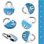 set of different padlock images over white background