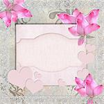 Card for congratulation or invitation with pink orchids